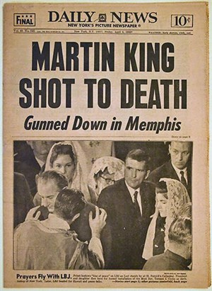 Image of newspaper headline of King's death