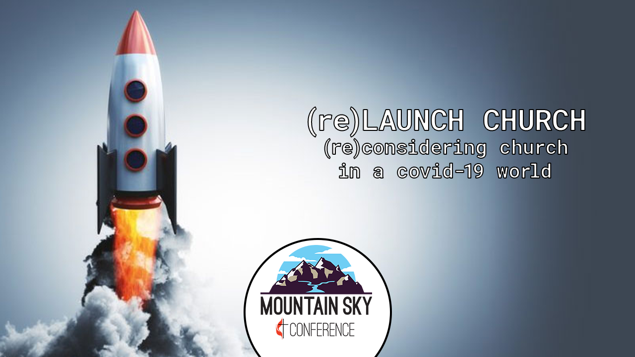 Main Graphic for Relaunch Church featuring a rocket