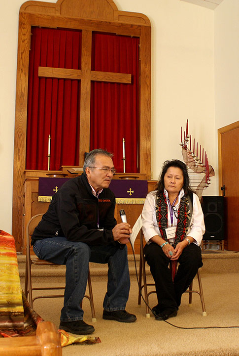 Pastor Norman Mark and his wife Rebecca at the Sand Creek 150th Commemoration event at Eads UMC on Nov. 29, 2014.