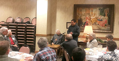 Dr. Henrietta Mann and Chief Phillip Whiteman, Jr., speak at Trinity UMC Denver on Dec. 3.