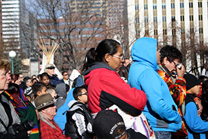Attendees of the Sand Creek Spiritual Healing Run closing Dec. 3 cry as they hear a retelling of the Sand Creek Massacre.