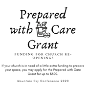 Prepared with Care grant for churches needing funding for re-opening - GRANTS EXHAUSTED