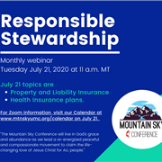 Responsible Stewardship: July 21, 2020 Webinar (Property Liability Insurance and Health 2021 Plans)
