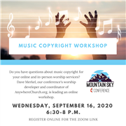 Music copyright workshop with Dave Merkel Sept. 16 at 6:30 p.m. MST